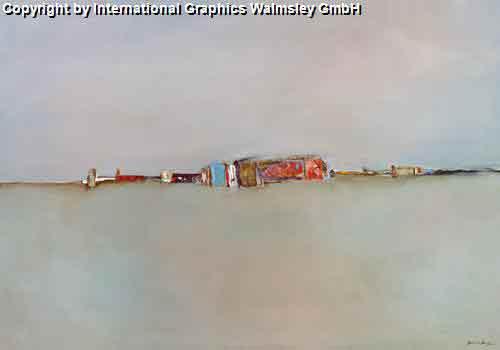 אבסטרקט בהיר אפור נוף דקורטיבי בתים קו האופק