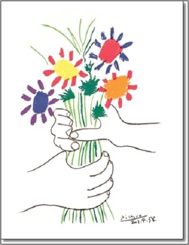 זר פרחים - פיקאסופיקאסו, זר, פרחים, ציור, אמנים קלאסיים , צבעוני, אביב, אביבי