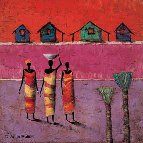 דמויות דמות אתני מזרחי אפריקה  שלישיה אדום כתום עבודה