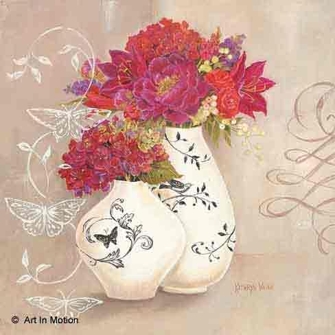 פרפר על אגרטלפרחים רומנטי יופי רטרו שושנה אדומה