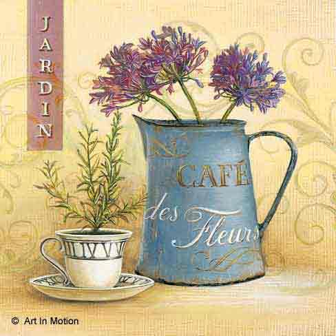 קפה ופרחיםפרחים רומנטי יופי רטרו ירוק כדים עציצים אמבטיה מטבח