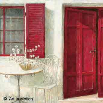 דלת כניסהפרחים רומנטי יופי רטרו ירוק כדים עציצים אמבטיה מטבח אדומה