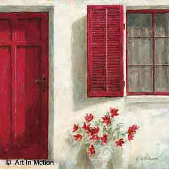 דלת כניסה 2פרחים רומנטי יופי רטרו ירוק כדים עציצים אמבטיה מטבח אדומה
