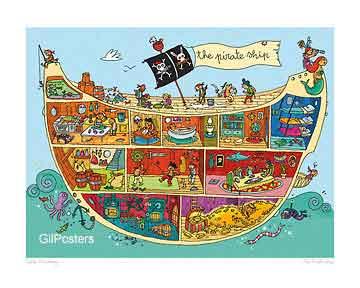 אניית הפירטיםספינה סירה תיבה שודדים חיוכים נאיבי
