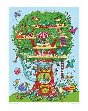 בית על העץבית עץ כיף משחקי ילדים חיוכים נאיבי