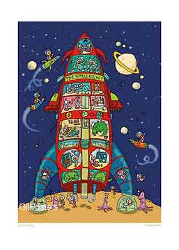 מסע לחללרקטה טיל חללית משחקי ילדים חיוכים נאיבי