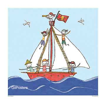 סירת הפיראטיםים סירה גלים משחקי ילדים חיוכים נאיבי