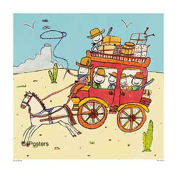 פרשים עגלה עם סוסה דיו משחקי ילדים חיוכים נאיבי