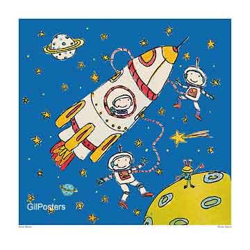 מסע בחללטיל חללית כוכבים משחקי ילדים חיוכים נאיבי