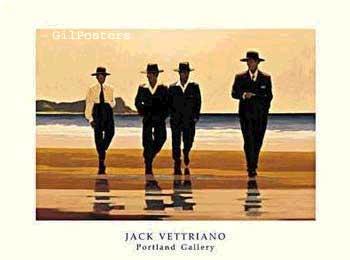 ווטריאנו - גברים על החוףרביעיה כרזה חליפה חליפות פאריס צרפת