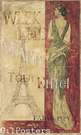 פאריז 1924כרזה אישה שימלה שמלות שחור לבן מודל ראווה פנים רומנטי מיסתורי מגדל אייפל אופנה סופשבוע בצרפת