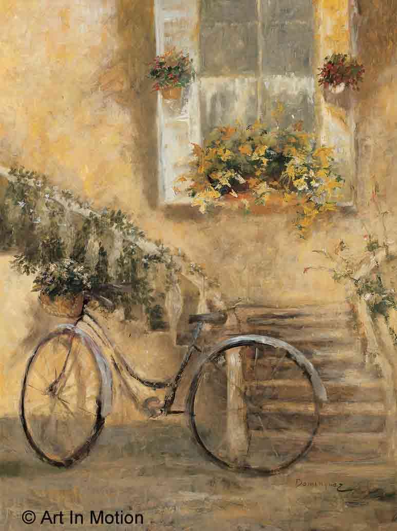 אופניים ביום ראשוןפרחים כלי תחבורה פריס צרפת פרחוני נסיעה רומנטית נוף עירוני מדרגות יון