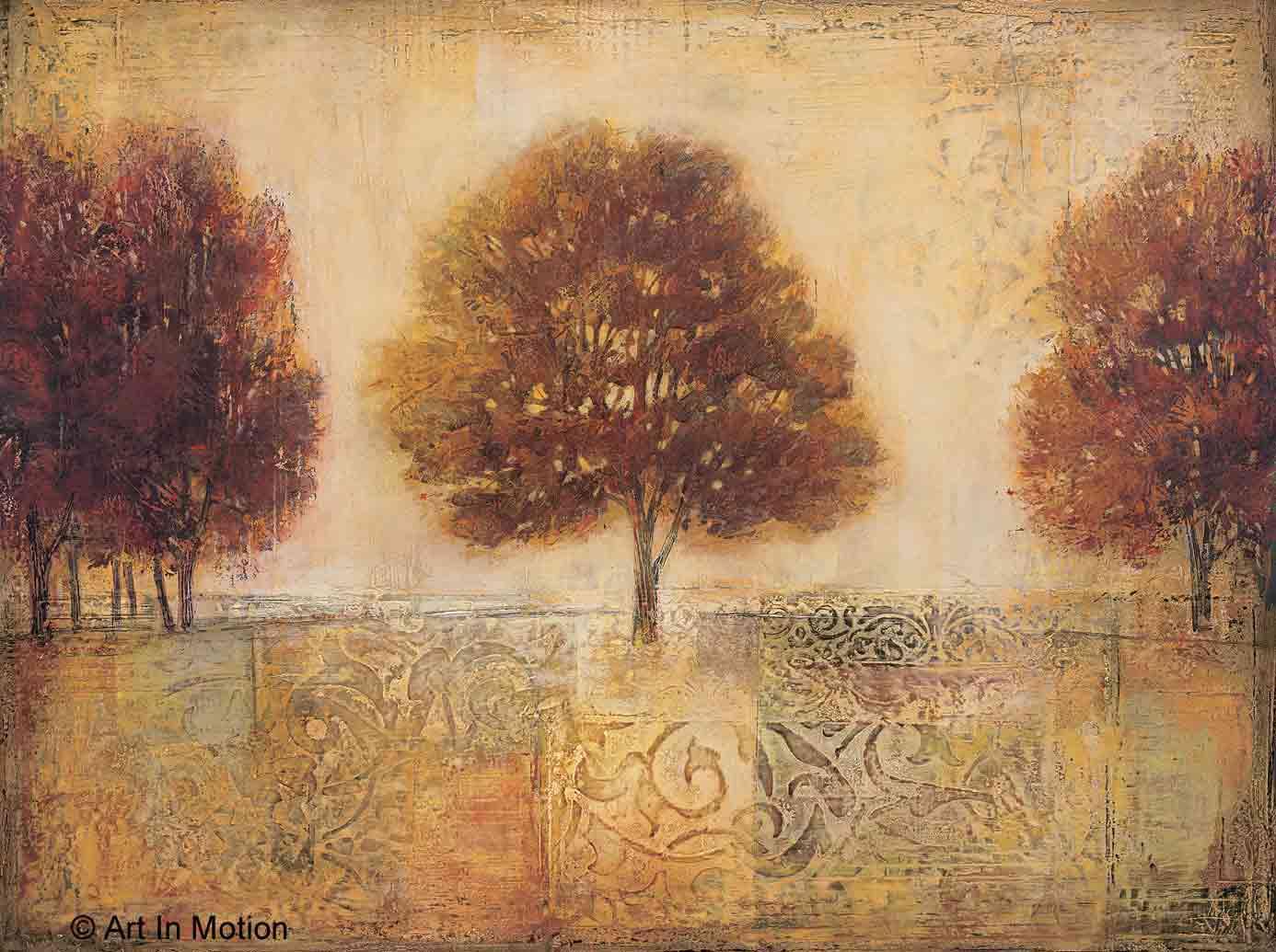 שדה עציםעץ שלישיה נוף ציורי פסטורלי דקורציה
