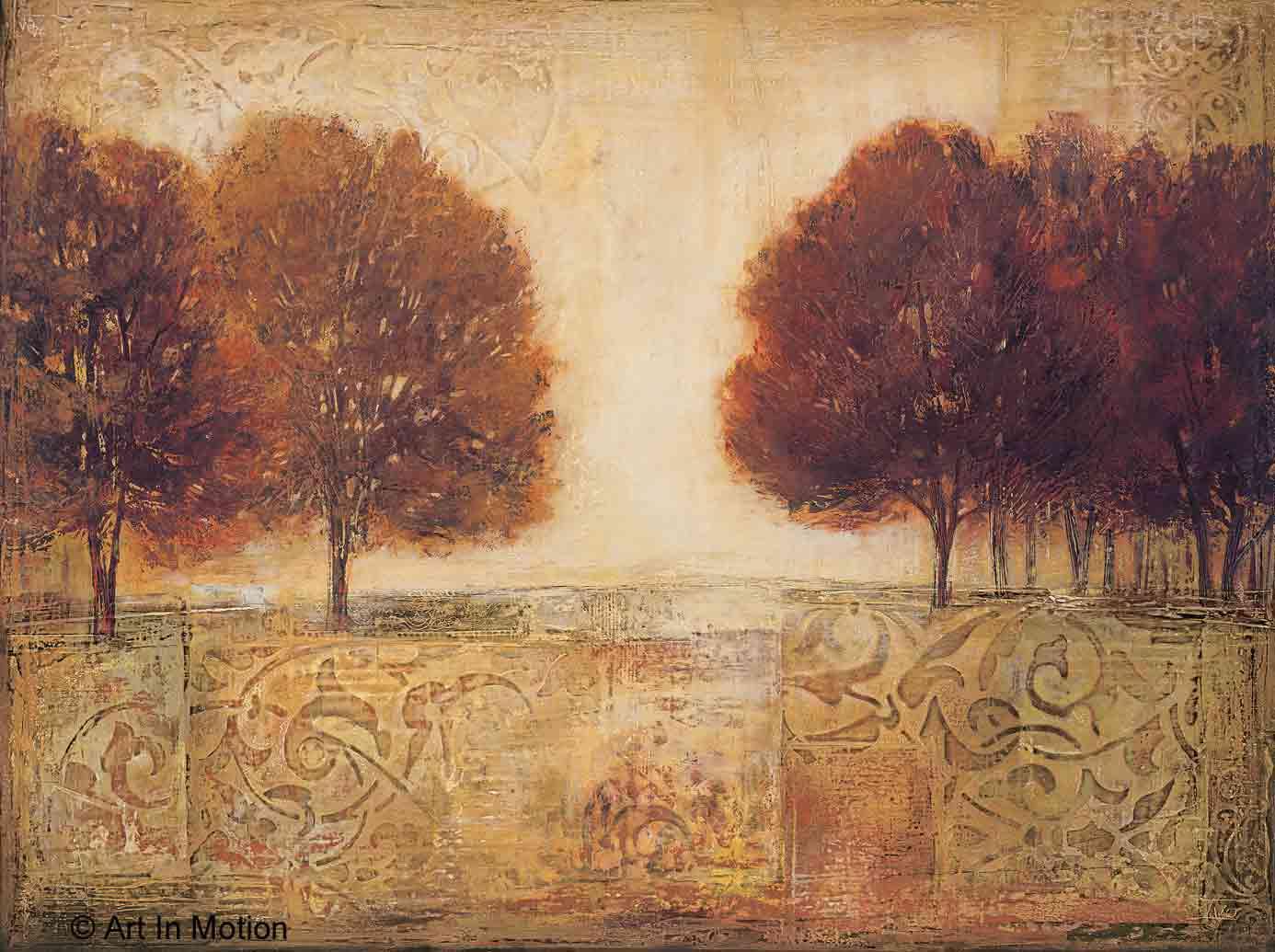 שדה עצים 2עץ זוגות נוף ציורי פסטורלי דקורציה