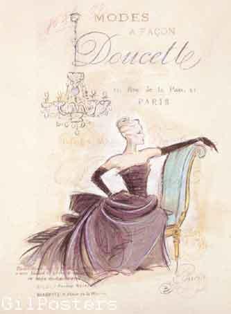 בישיבה  Seated Viewכרזה אישה שימלה מפוארת שמלות נשף כיסא מודל ראווה פנים רומנטי מיסתורי