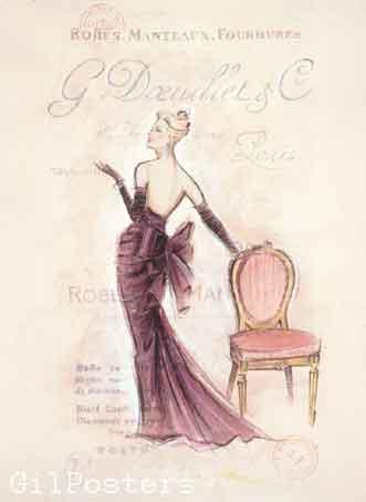 בעמידה Standing Viewכרזה אישה שימלה מפוארת שמלות נשף כיסא מודל ראווה פנים רומנטי מיסתורי מגדל אייפל אופנה סופשבוע בצרפת פריס דוגמנית שיק פאריזאי