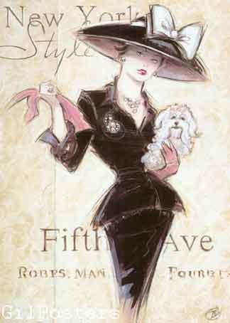ניו יורק New York Socialiteהשדרה החמישית כרזה אישה שימלה שמלות שחור לבן מודל ראווה פנים רומנטי מיסתורי מגדל אייפל אופנה סופשבוע בצרפת פריס דוגמנית שיק פאריזאי