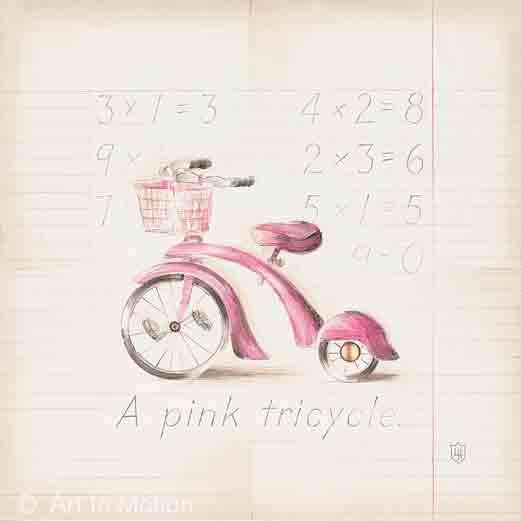 תלת אופן ורודאופניים נאיבי ילדותי ילדה ציור חדר ילדים