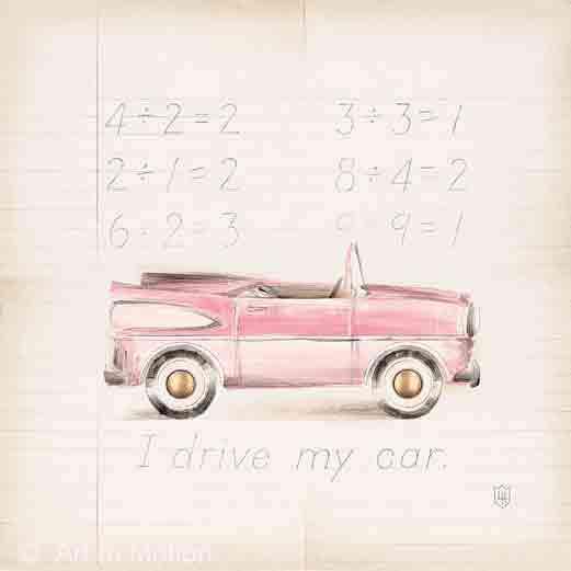 המכונית הוורודה שליאופניים נאיבי ילדותי ילדה ציור חדר ילדים