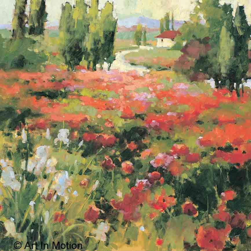 בוקר של קיץשדה פרחים נוף ציורי פסטורלי צבעי מים