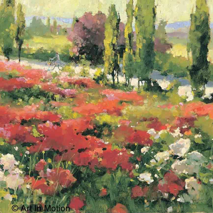 אחר הצהרים של קיץשדה פרחים נוף ציורי פסטורלי צבעי מים