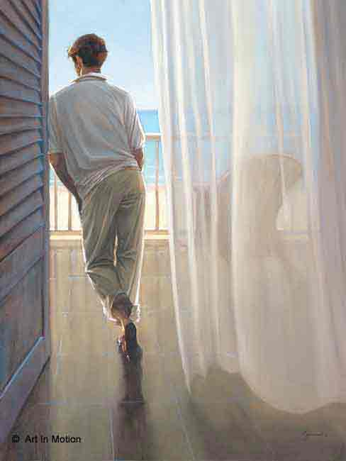 נוף מהמרפסתזוג אנשים  דמויות ים ציור איש גבר בחור חלום