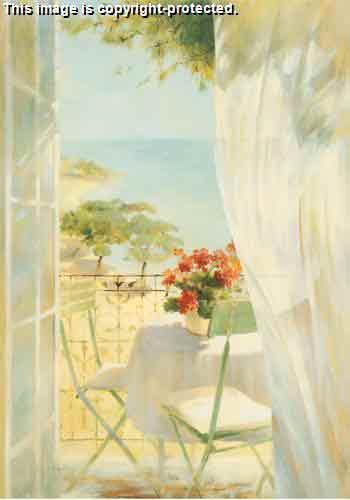 מרפסת מול היםחלון ים נוף פתוח אורירי וילון רוח יווני שולחן