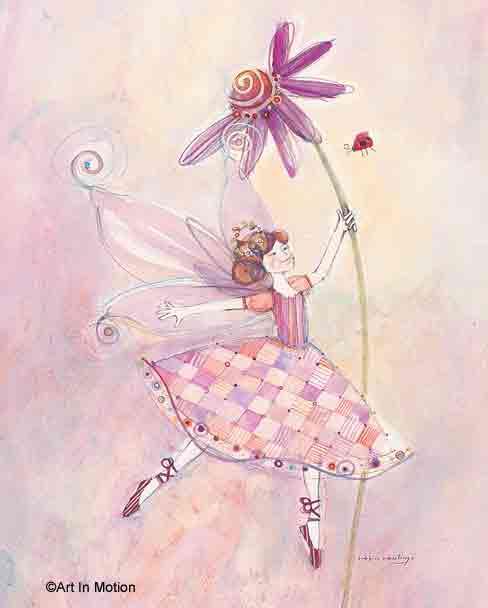 פיה ופרחפיות ילדה בובה ורודה חדר ילדים שרביט רקדנית נעלי ריקוד