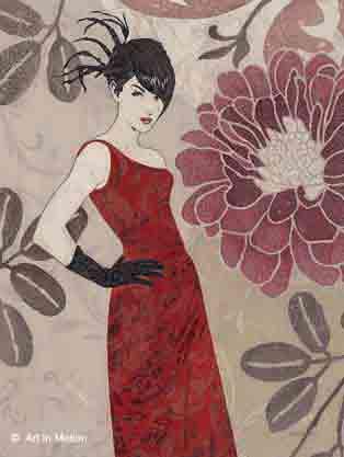 אישה אופנתית עיצוב רומנטיקה  פינת אוכל חדר עבודה אופנה משרד אישה רומנטית דמות דמויות פרחים פירחוני