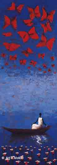 נוסע עם פרפרים עיצוב רומנטיקה זוגי חדר שינה חדר עבודה כחול משרד רומנטית דמות דמויות סירות  קאנו