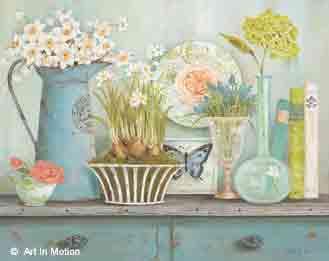 כלים על המדףרומנטי מטבח אגרטל כדים  פרחים לבנים
