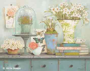 כלים על המדף 2רומנטי מטבח אגרטל כדים  פרחים לבנים