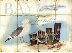 שחף במפרץחוף , צמחיה, שחף, חסידה , ציפור, וינטג'