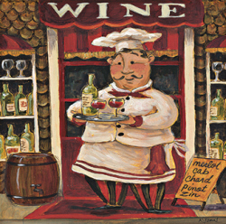 שף וייןיין, איטלקי, ציור , חמוד, טבח, שף , מטבח, מסעדה, יינן, כובע, שפם