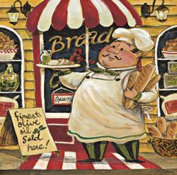 שף ולחמיםלחם, לחמים, פוקאצ'ה , באגט , איטלקי, ציור , חמוד, טבח, שף , מטבח, מסעדה,מאפייה, כובע, שפם