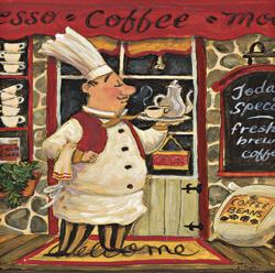 שף וקפהקפה, איטלקי, ציור , חמוד, טבח, שף , מטבח, מסעדה, אספרסו, כובע, שפם
