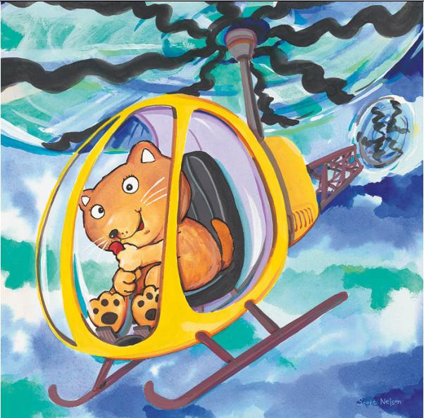 חתול בתנועהחתול, איור, מסוק, הליקופטר, ילדים חמוד מצוייר, שמים