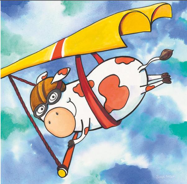 פרה בתנועהפרה, צונחת, צניחה, איור, מצנח, שמים , ילדים, חמוד, מצוייר, שמיים