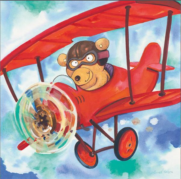 דב בתנועה תמונות מטוסים רכבות   הדב  צב, מטוס, שמים, ילדים, איור, חמוד, מצוייר