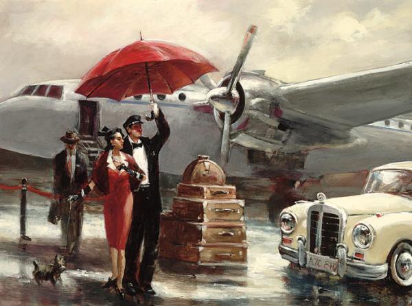 טיסה בין יבשתיתוינטג', מטוס, מטריה, גשם, גבר, אישה, פייפר, יוקרתי