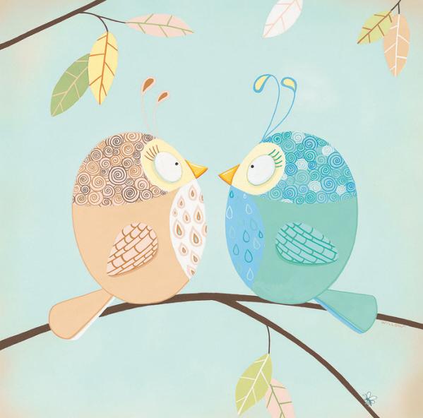 שתי ציפורים קטנותשתי ציפורים, ילדים , חמוד, ענף, איור, מתוק, שמים,עלים, פסטלי