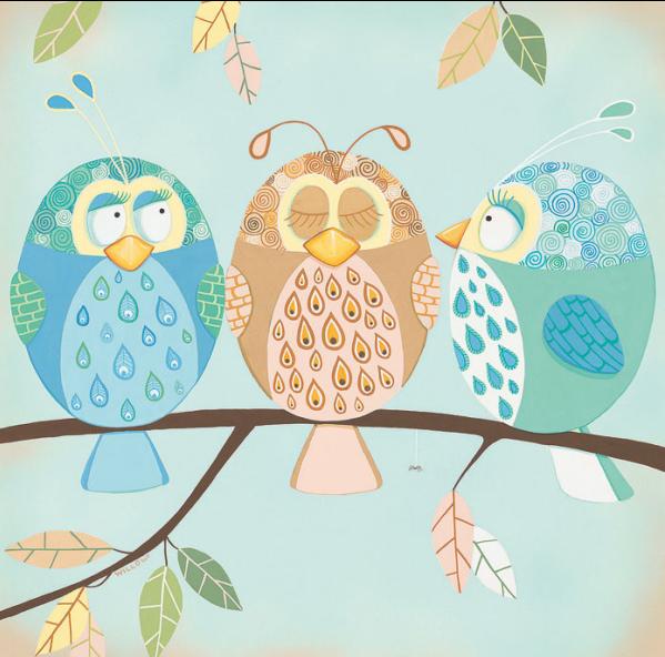 שלוש ציפורים קטנותשלוש ציפורים, ילדים , חמוד, ענף, איור, מתוק, שמים,עלים, פסטלי