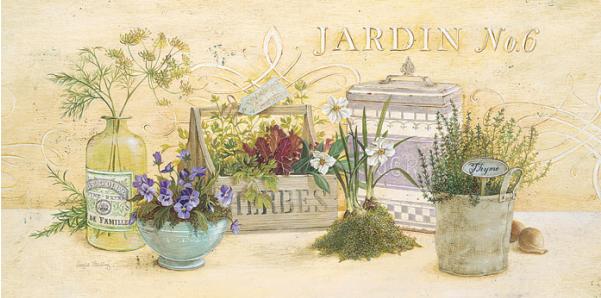 גינה במטבחדקורטיבי, עדין, צמחי מרפא, צמחים, פרחים, תבלינים, עשבי תיבול, אגרטל, וינטג'