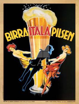 Birra Itala Pilsenכרזה, וינטג', בירה, גדול, הדפס, פרסומת