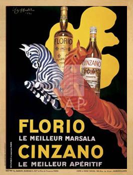 Florio e Cinzano, 1930כרזה, וינטג', זברה, יין, ברוט, גדול, הדפס, פרסומת