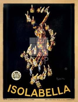 Isolabella, 1910כרזה, וינטג', ליצן, יין, גדול, הדפס, פרסומת