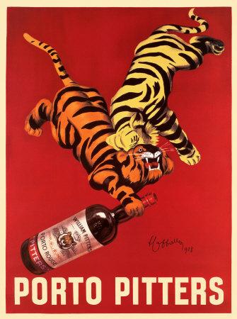 Porto Pittersכרזה , וינטג', נמרים, יין, בקבוק, אדום