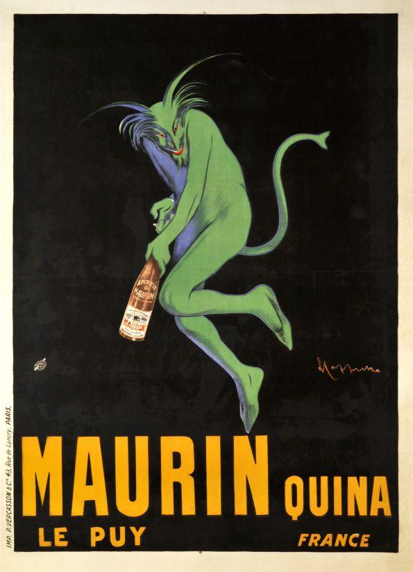 maurin quina le puyכרזה , וינטג',  פרסומת , מרטיני, שדון, ירוק, שחור