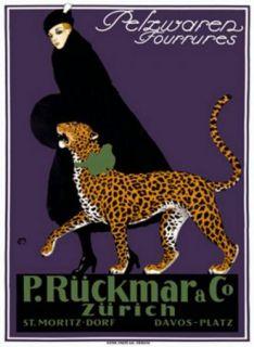 P.ruckmar& co zurichכרזה , וינטג',  פרסומת , סגול, אשה , נמר, מעיל