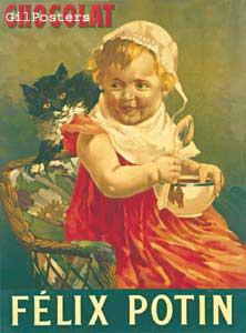 שוקורטרו כרזה ילדה אוכל מטבח חתול קערה